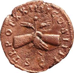 R/ Deux mains jointes tenant un caducée ailé et deux épis. S/C TR POT XXIIII-COS IIII As, Rome, Ric 1055, 160-161, W18, C1.