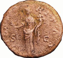 R/ Hilaritas debout à gauche, tenant une corne d'abondance de la main gauche et une longue palme de la droite. S/C )-RITAS As, Rome, Ric 1643, 161, W17, C2.