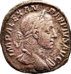 ALEXANDRE SEVERE  (222-235) A/ Tête laurée  à droite. IMP ALEXAN-DER PIVS AVG