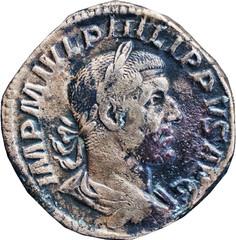 PHILIPPE L'ARABE (244-249)  50 A/ Buste lauré à droite, drapé et cuirassé, vu de ¾ arrière. IMP M IVL PHILIPPVS AVG