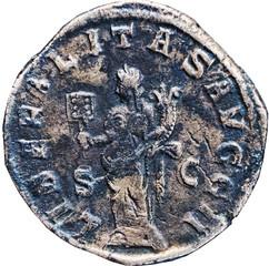 R/ Libéralitas debout de face, regardant à gauche, tenant un abacum de la main droite et une corne d'abondance de la gauche. S/C LIBERALITAS AVGG II Sesterce, Rome, Ric 180a, 245, W20, C4.